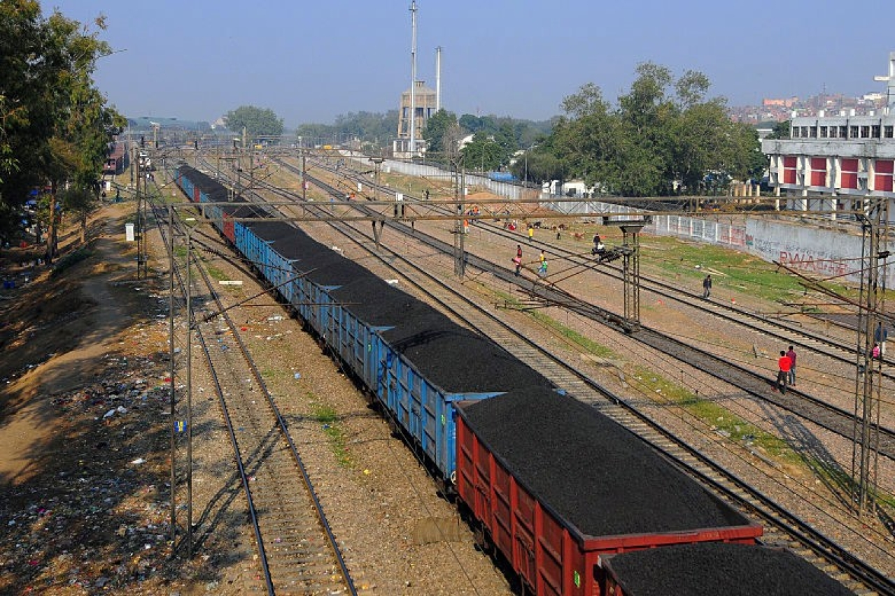 An Indian Railways train carrying coal.  (Ramesh Pathania/Mint via Getty Images)