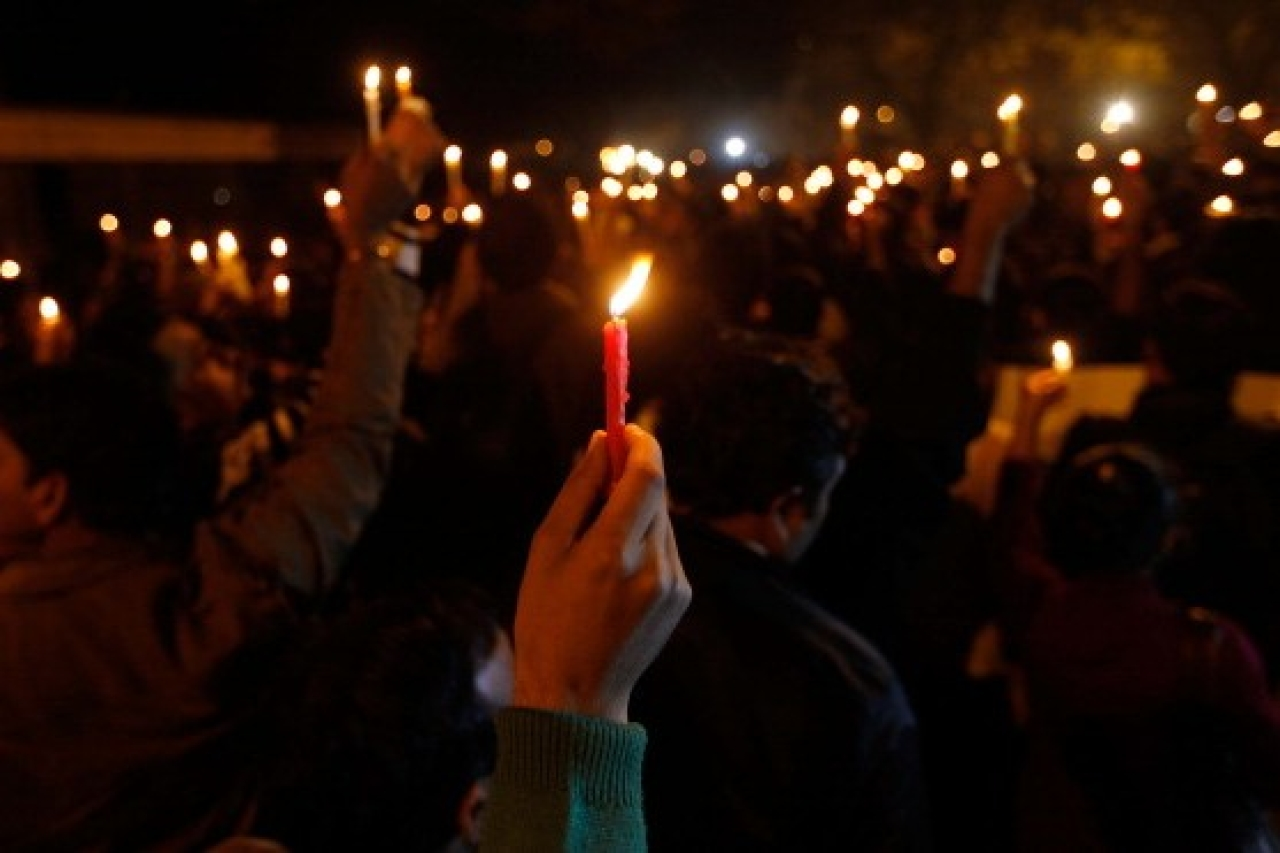 A candlelight vigil condemning crimes against women. (Virendra Singh Gosain/Hindustan Times via Getty Images)