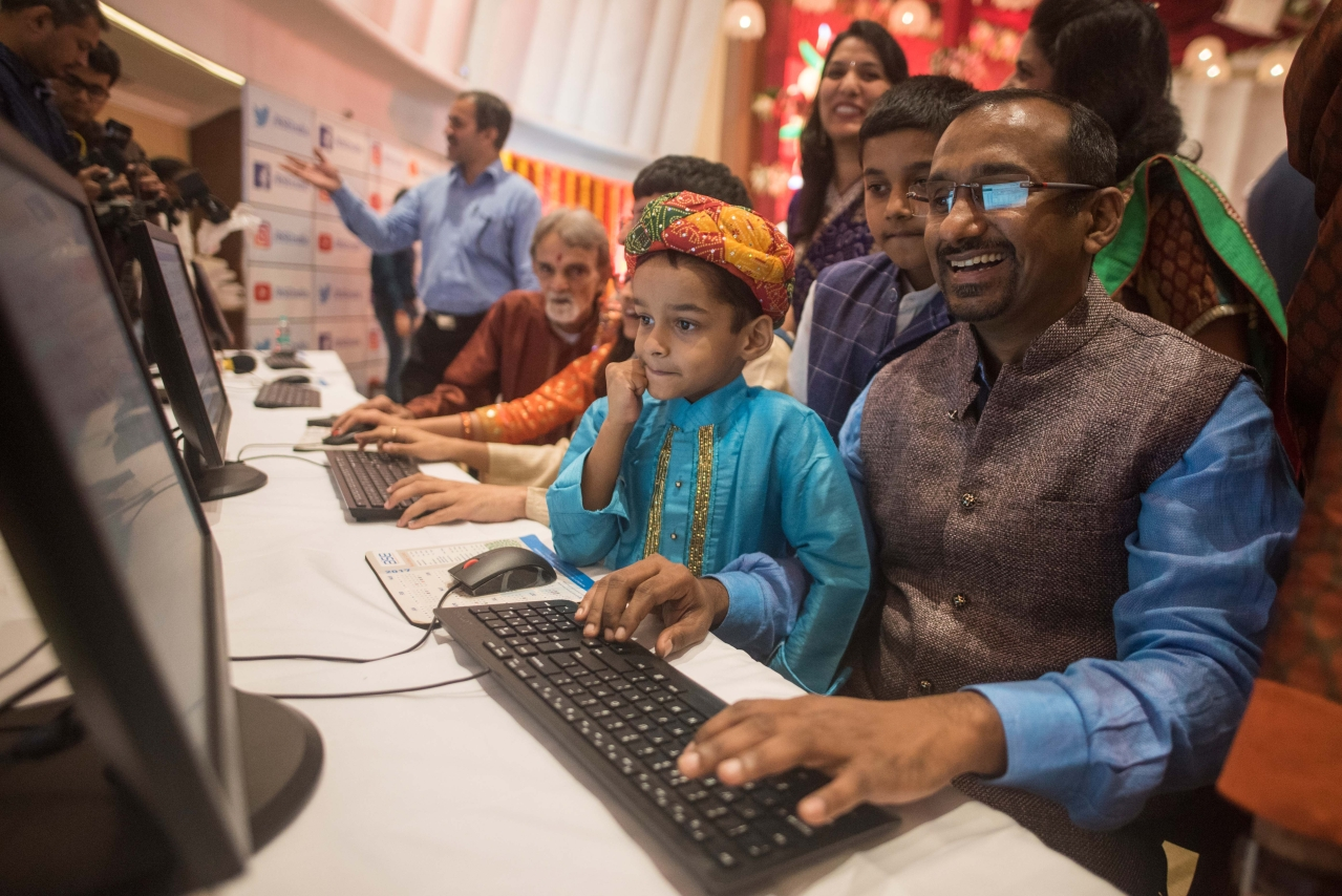 Special muhurat trading session on the occasion of Diwali, at the Bombay Stock Exchange (BSE), on October 19, 2017 in Mumbai (Pratik Chorge/Hindustan Times via Getty Images)