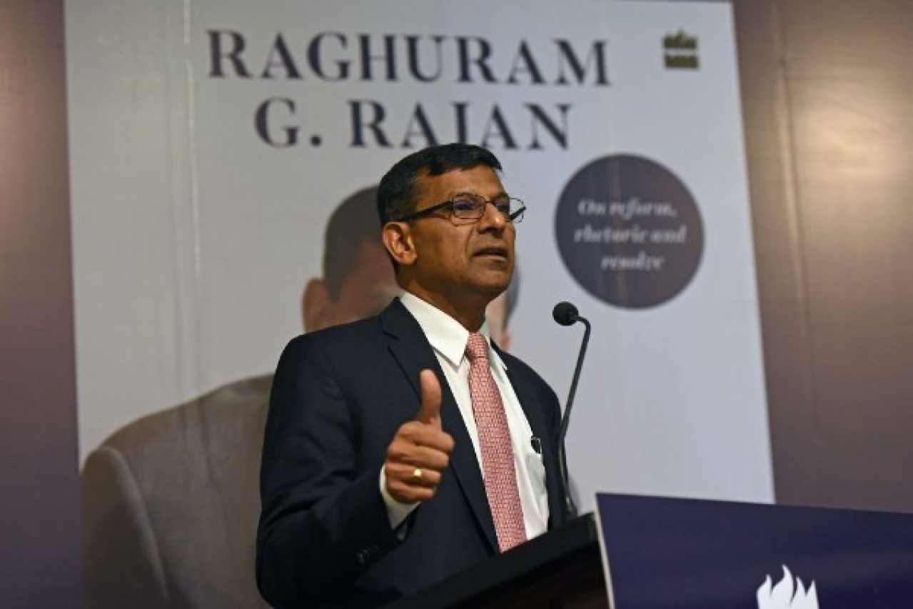 Raghuram Rajan, former governor of the Reserve Bank of India, during the release of his book <i>I Do What I Do</i> in Mumbai. (Satyabrata Tripathy/Hindustan Times via Getty Images)