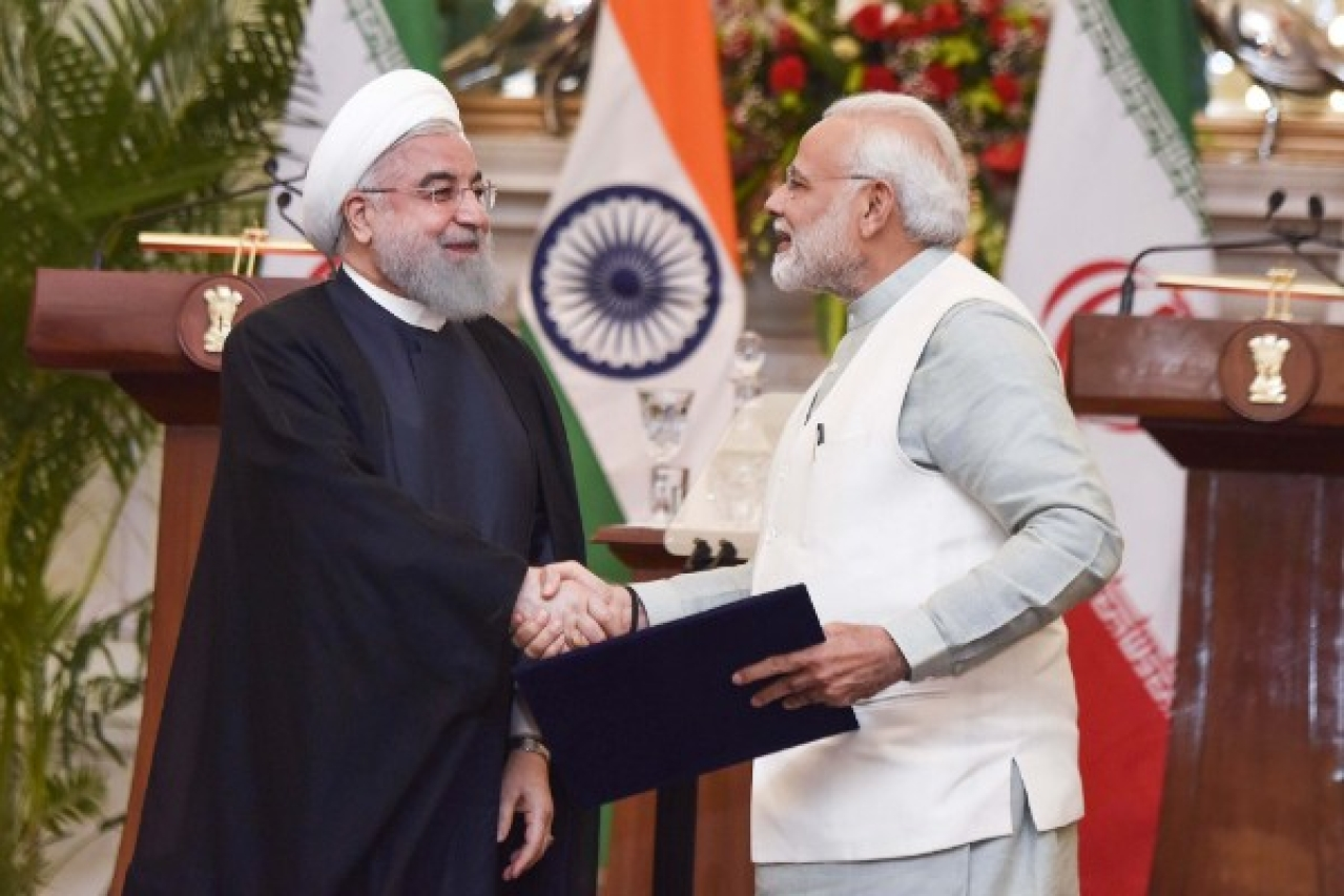 Iran President Dr Hassan Rouhani with PM Narendra Modi in New Delhi.  (Vipin Kumar/Hindustan Times via Getty Images)