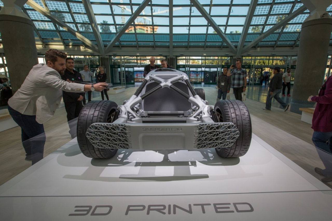 A 3D printed car made by Divergent 3D, displayed during an auto trade show in Los Angeles, California. (David McNew/GettyImages)