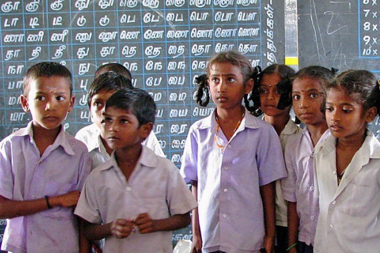 Government school students in Tamil Nadu. (McKay Savage via Wikimedia Commons)