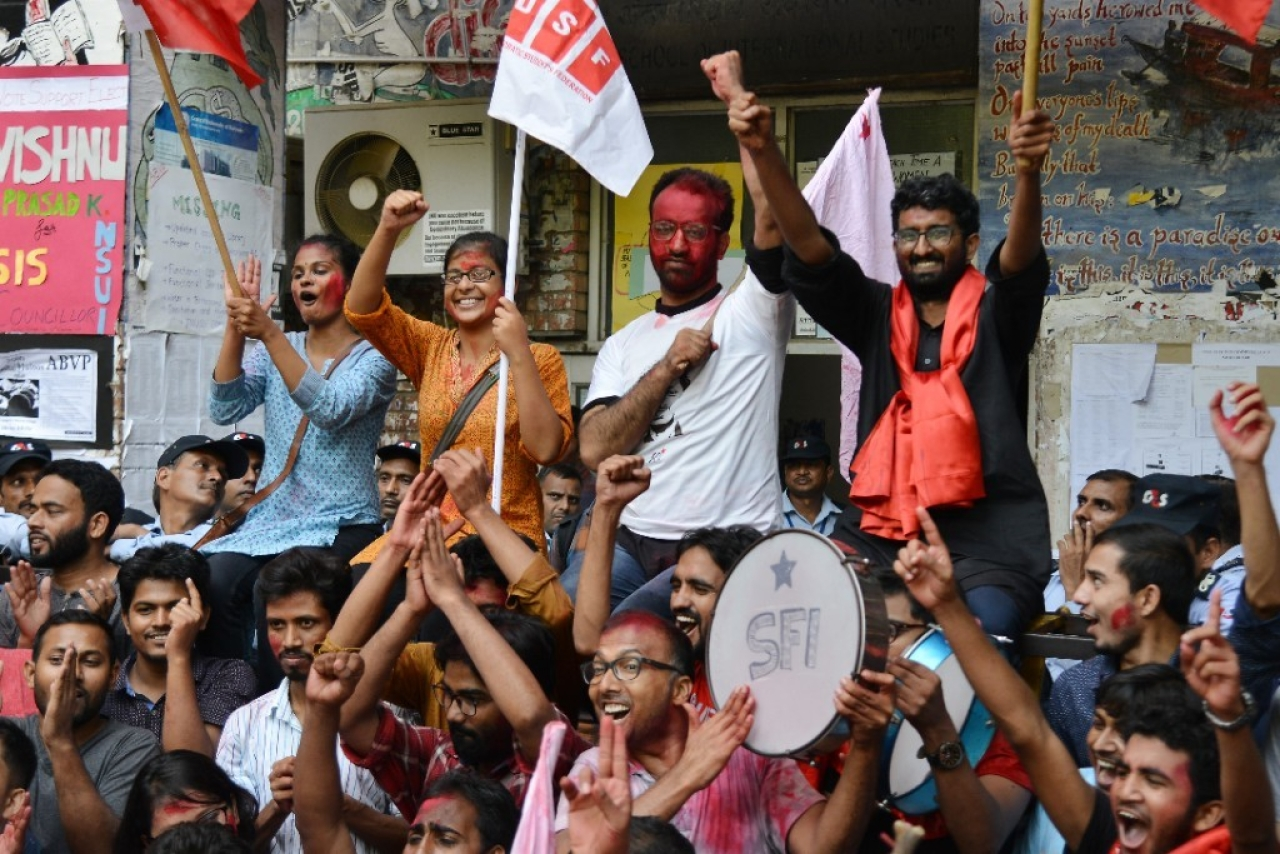 Students celebrate as United Left Alliance wins all four seats in JNU Elections in New Delhi. (K Asif/India Today Group/Getty Images)