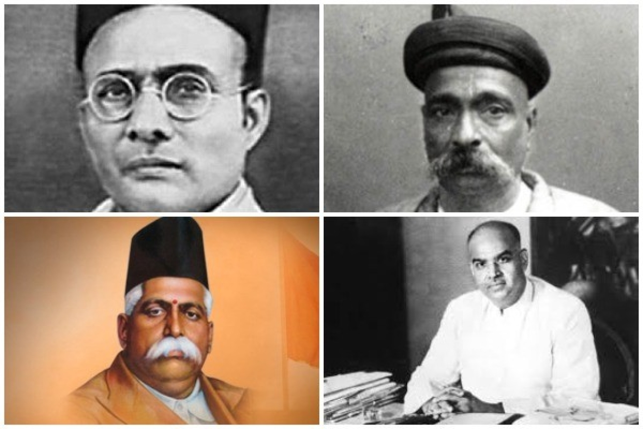 Stalwarts of Hindutva (Clockwise from top-left): Veer Savarkar, Bal Gangadhar Tilak, Dr Syama Prasad Mookerjee and KB Hedgewar.