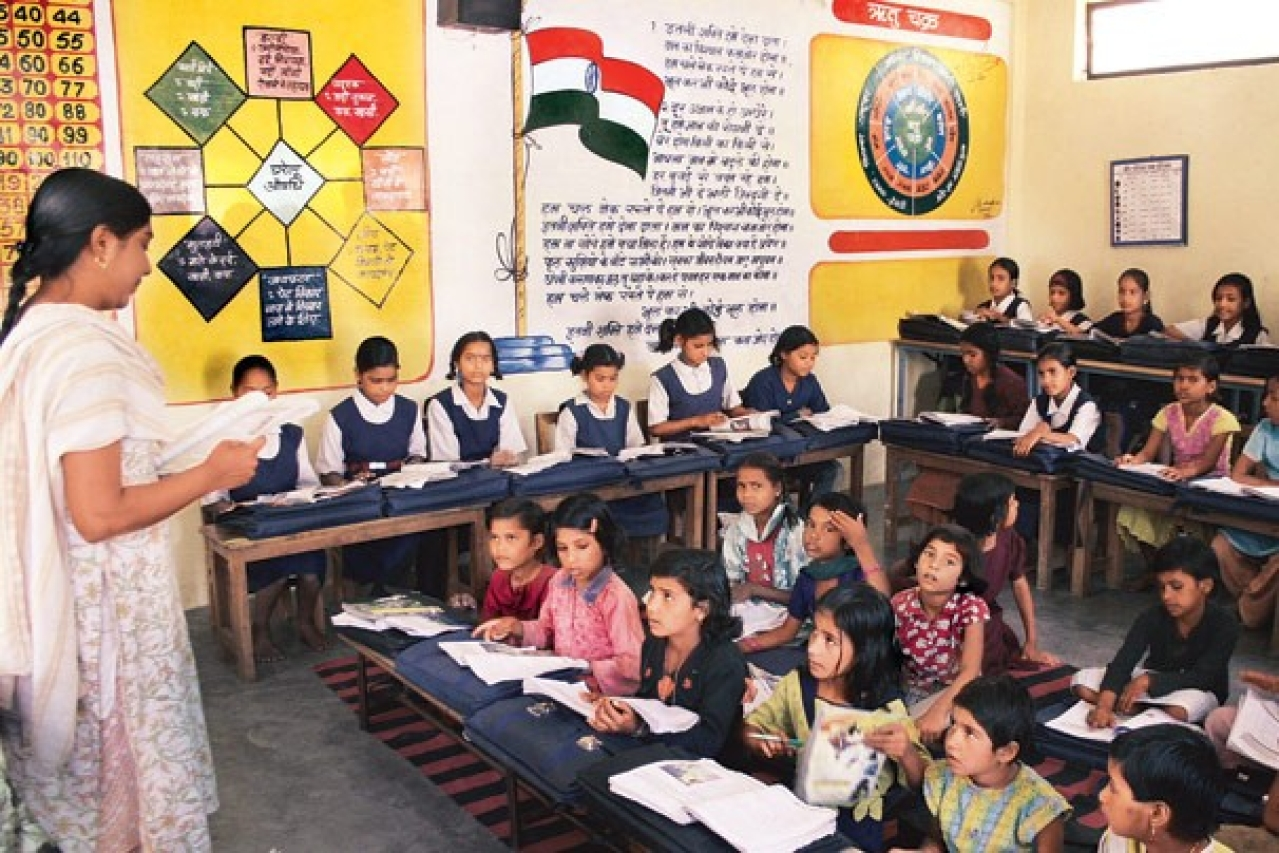 Students at a classroom in a government-run school.