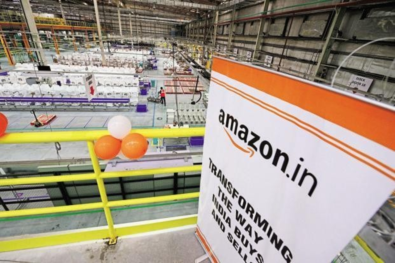 An Amazon warehouse facility in India. (Mint)