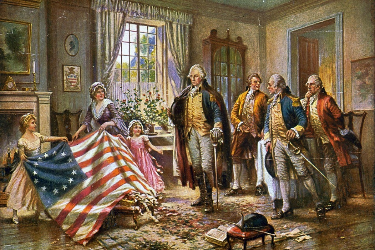 Painting depicting the story of Betsy Ross (Edward Percy Moran/Wikimedia Commons)