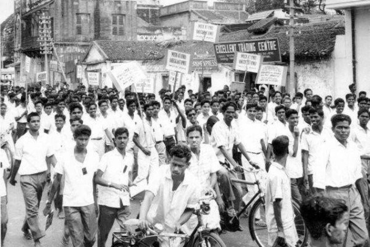 People taking part in an anti-Hindi agitation in Madras.