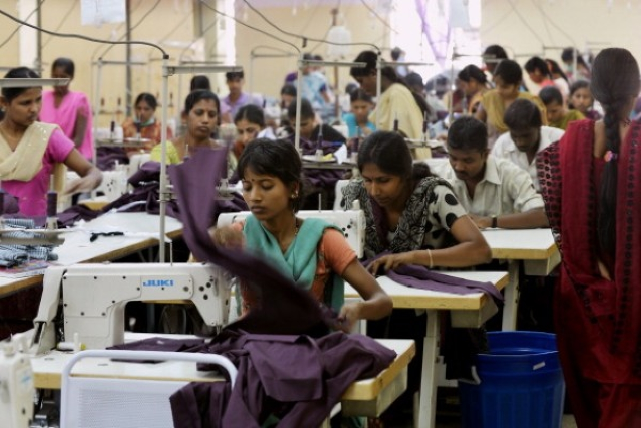 Women at a garments factory. (Manjunath Kiran/AFP/Getty Images)