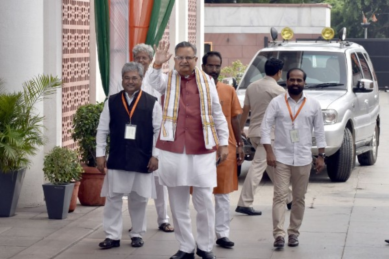 Chhattisgarh Chief Minister Raman Singh arriving for the BJP Chief Ministers' Council Meeting at party office in New Delhi. (Sonu Mehta/Hindustan Times via Getty Images)
