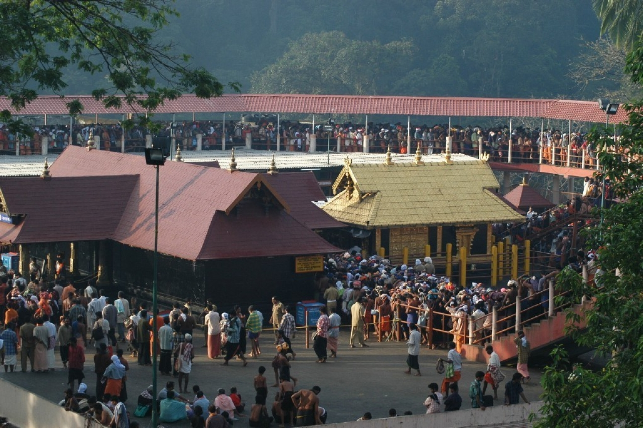 Devotees thronging the temple, Lord Ayyappa of Sabarimala in Kerala. (Photo by Shankar/The India Today Group/GettyImages)