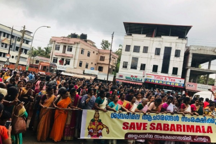 Watch: Massive Protests By Women In Kerala's Pandalam Against Supreme Court's Sabarimala Verdict