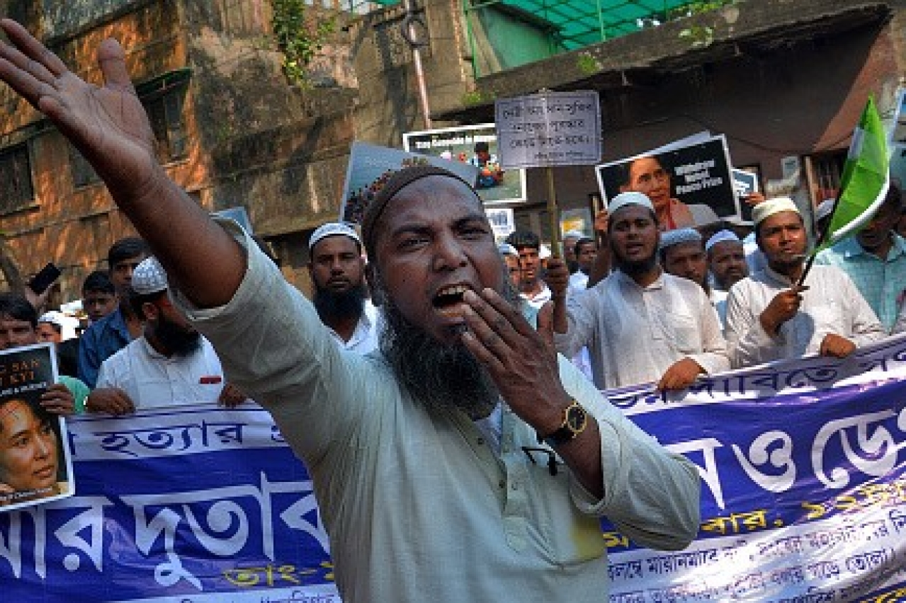 A Rohingya rally in West Bengal in 2017.