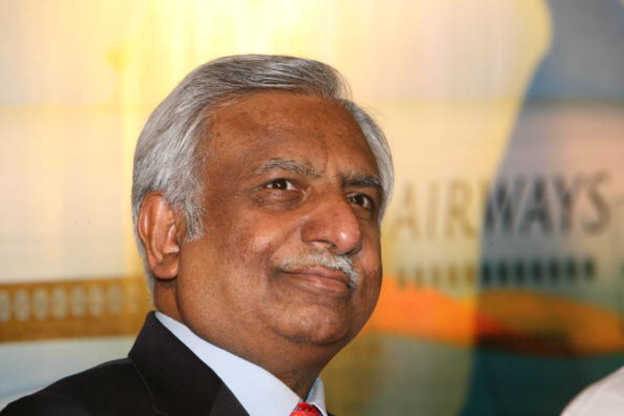 Naresh Goyal at a press conference in New Delhi. (Hemant Chawla/The India Today Group/GettyImages)