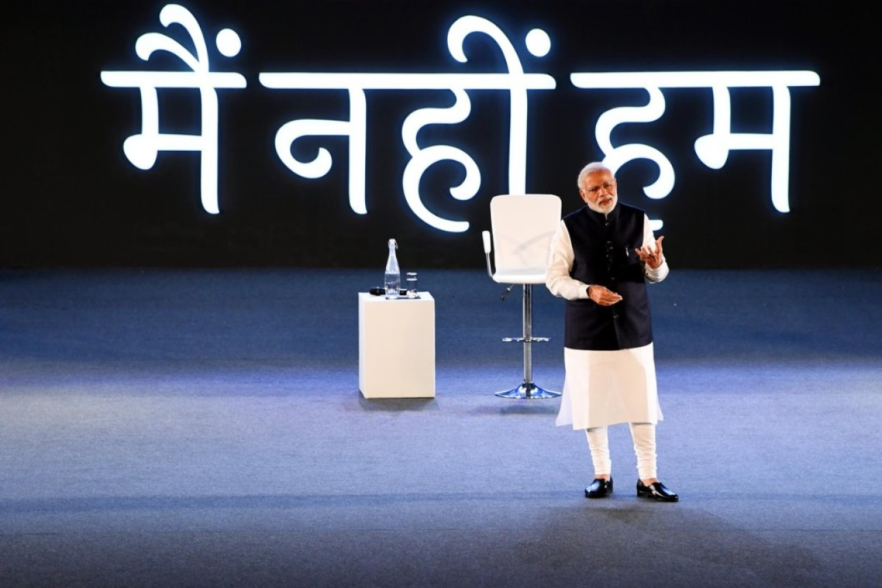 Prime Minister at a Townhall event (Twitter.com/@narendramodi)