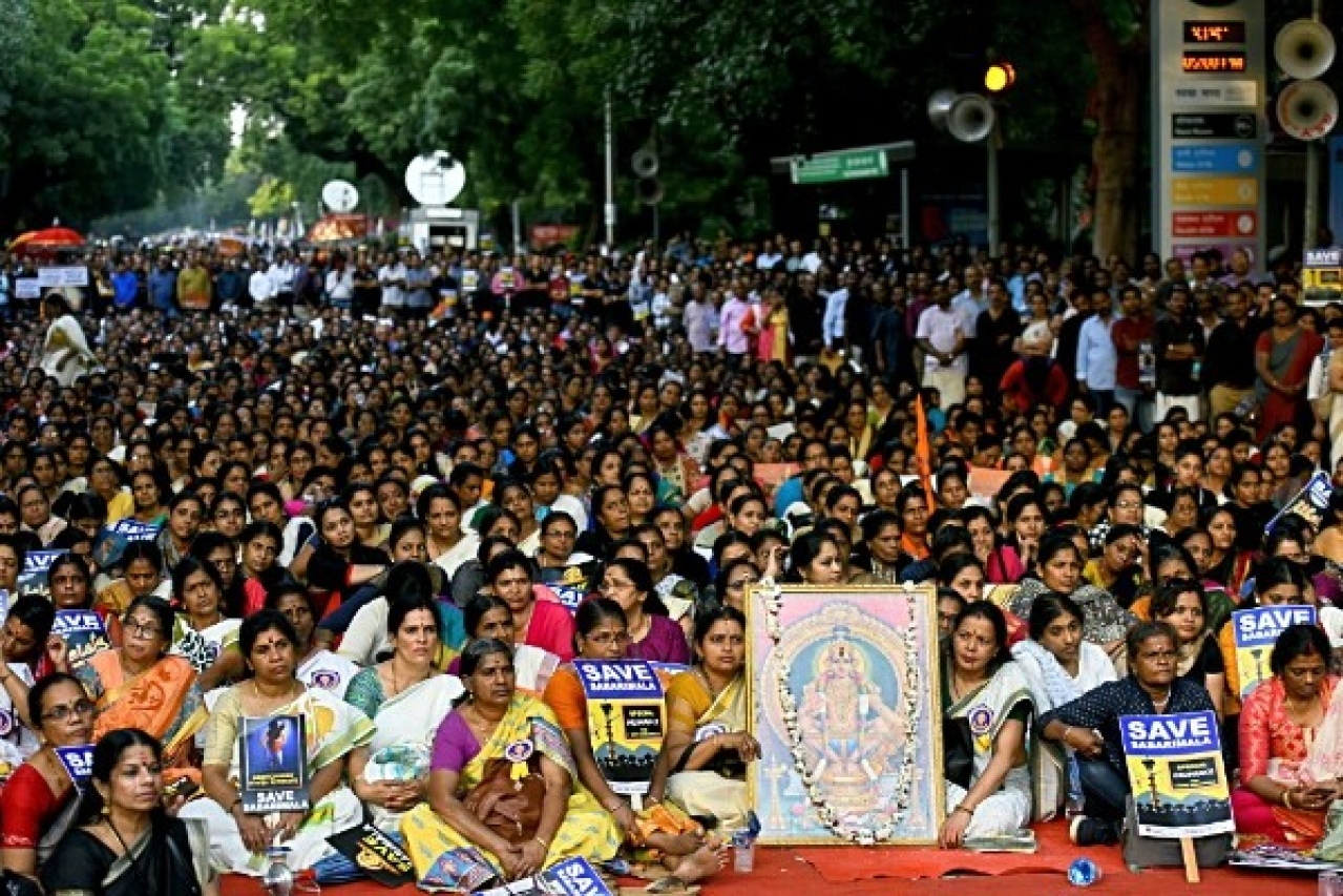 Devotees hold placards during a protest against the Supreme Court verdict on Sabarimala (Amal KS/Hindustan Times via GettyImages)