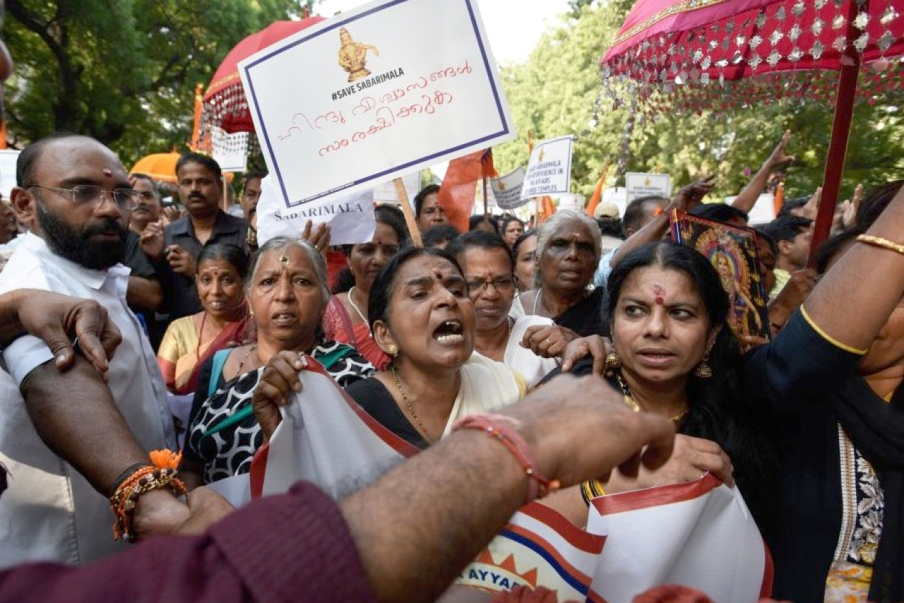 Members of Sabarimala Ayyappa Seva Samajam (SASS) take part in a protest against the Supreme Court verdict. (Biplov Bhuyan/Hindustan Times via Getty Images)