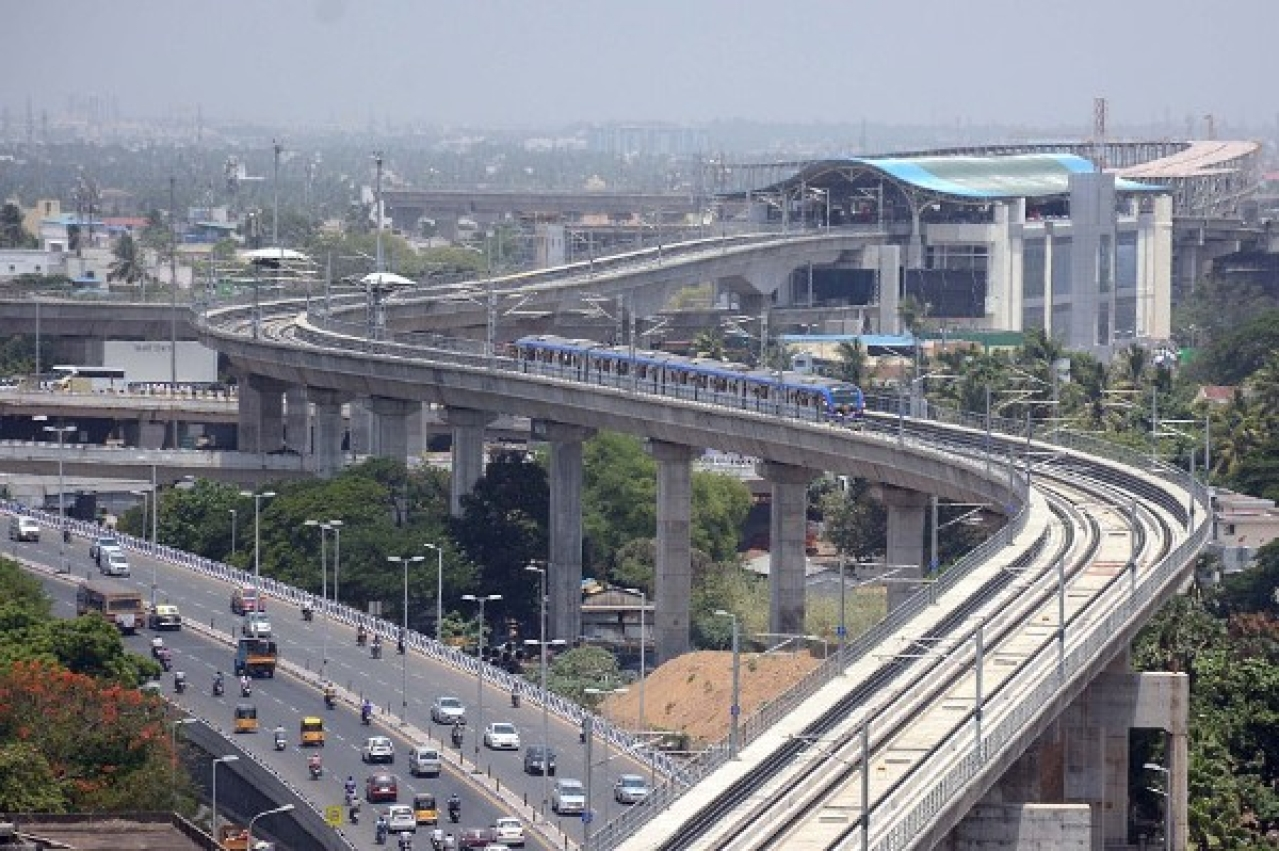 Representative Image of an elevated Chennai Metro line (Photo by Jaison G/India Today Group/Getty Images)