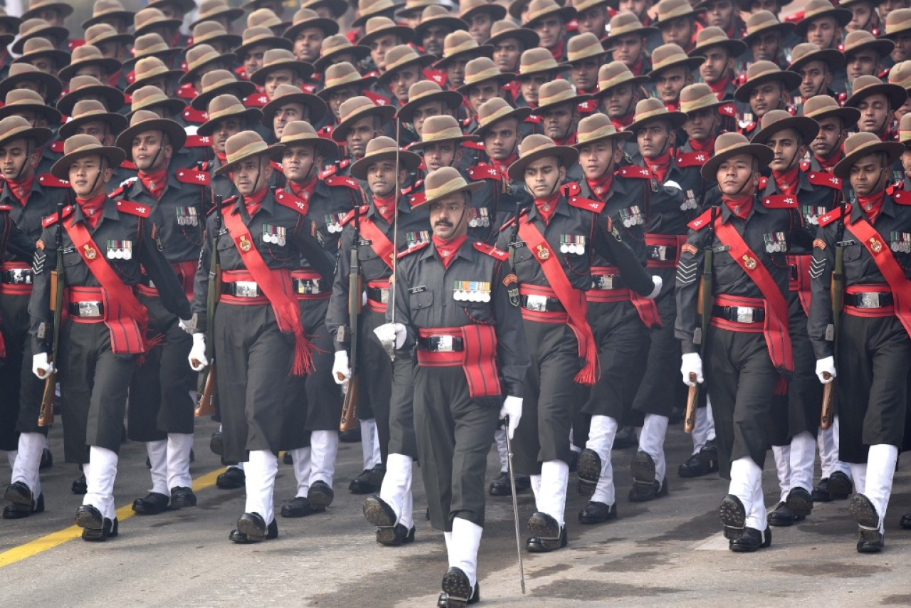11 Gorkha Rifles march down during the Republic Day Parade (Vipin Kumar/Hindustan Times via Getty Images)