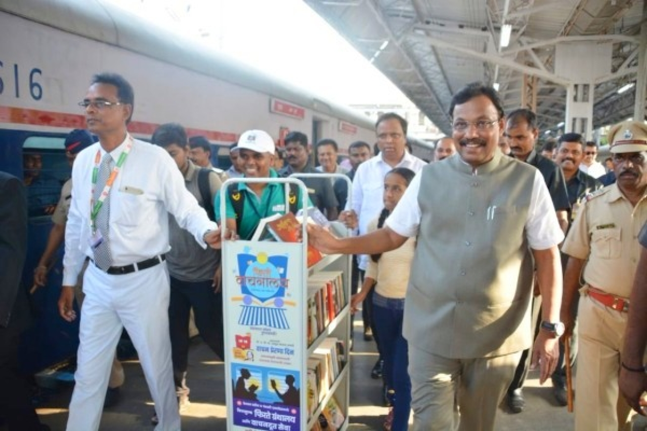 Image result for indian railways library on wheels trains reading