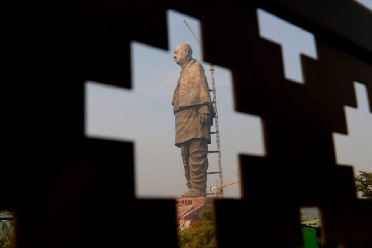 The site of the Statue of Unity near Sardar Sarovar Dam. (Siddharaj Solanki/Hindustan Times via GettyImages)