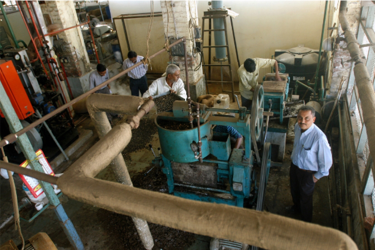 Production of biodiesel from Jatropha seeds in the workshop of Central Salt and Marine Chemical Research Institute (CSMCRI), Bhavnagar. (Shailesh Raval/The India Today Group/GettyImages)