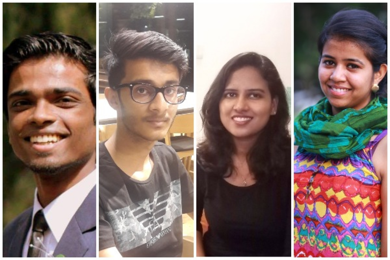 India Inclusion Fellows 2017-2018. From left to right: Johan Dhinakaran, Dhruv Agrawal, Chandni Rajendran, Aditi Agrawal