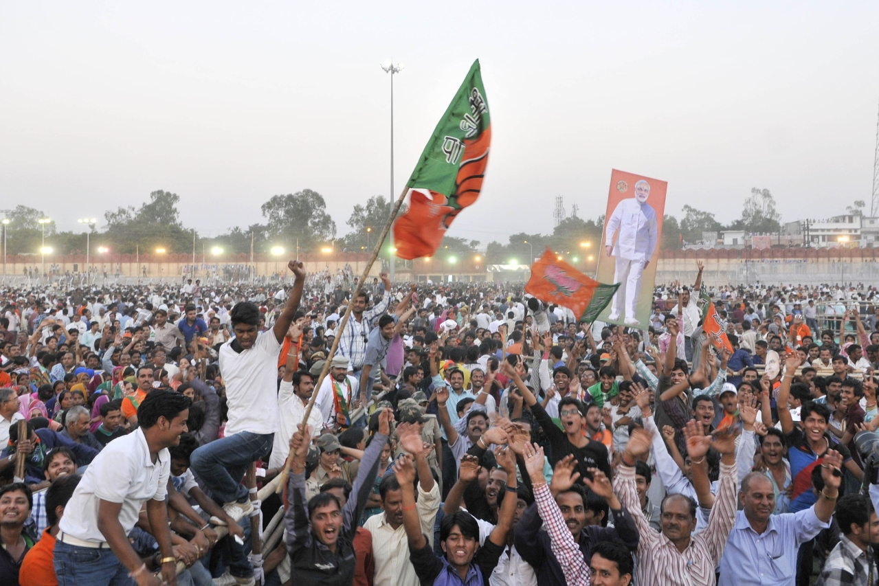 BJP supporters and workers gathered during the BJP Janjaati Morcha Sammelan rally at Maharana Bhupal Stadium on October 27, 2013 in Udaipur (Himanshu Vyas/Hindustan Times via Getty Images)