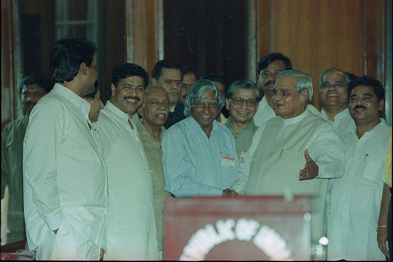 Dr. APJ Abdul Kalam and Prime Minister Shri Atal Bihari Vajpayee during presidential election at Parliament House on 15 July 2002. (HC Tiwari/Hindustan Times via Getty Images)