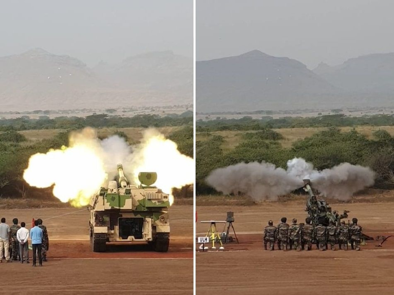 K9 Vajra (left) and M777 (right) artillery guns to be inducted by the army today. (@rahulsinghx/Twitter)