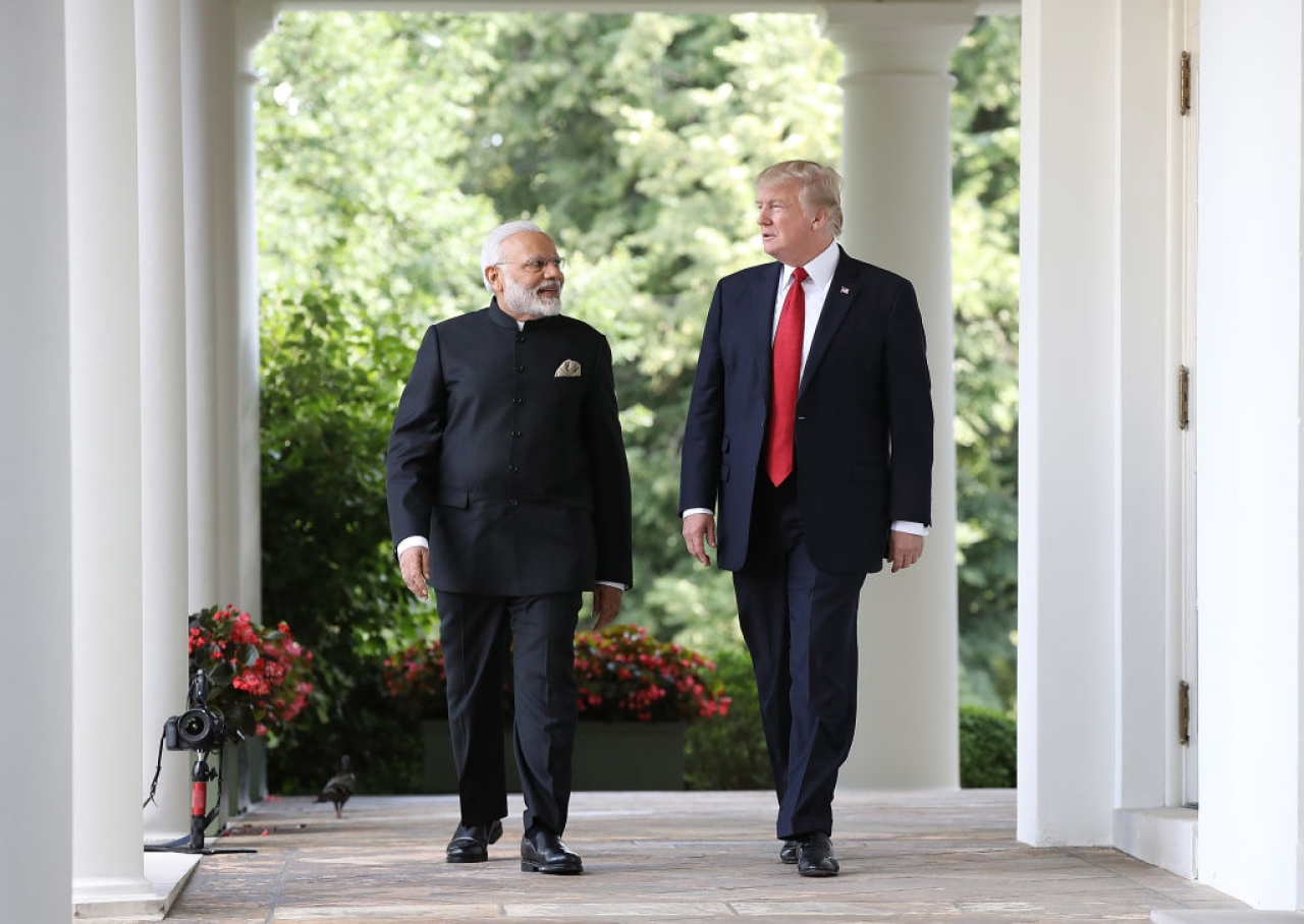 US President Donald Trump and Indian Prime Minister Narendra Modi walk from the Oval Office to deliver joint statements in the White House. (Win McNamee/Getty Images)