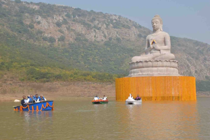 Bihar CM Unveils 70-Foot-Tall Statue Of Buddha In Rajgir Lake, In Bid To Boost Eco-Tourism