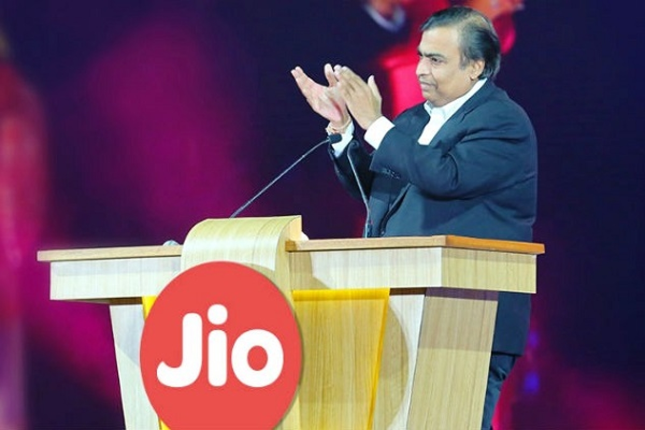 Reliance Industries chairman Mukesh Ambani at a Jio event. (digit.in)