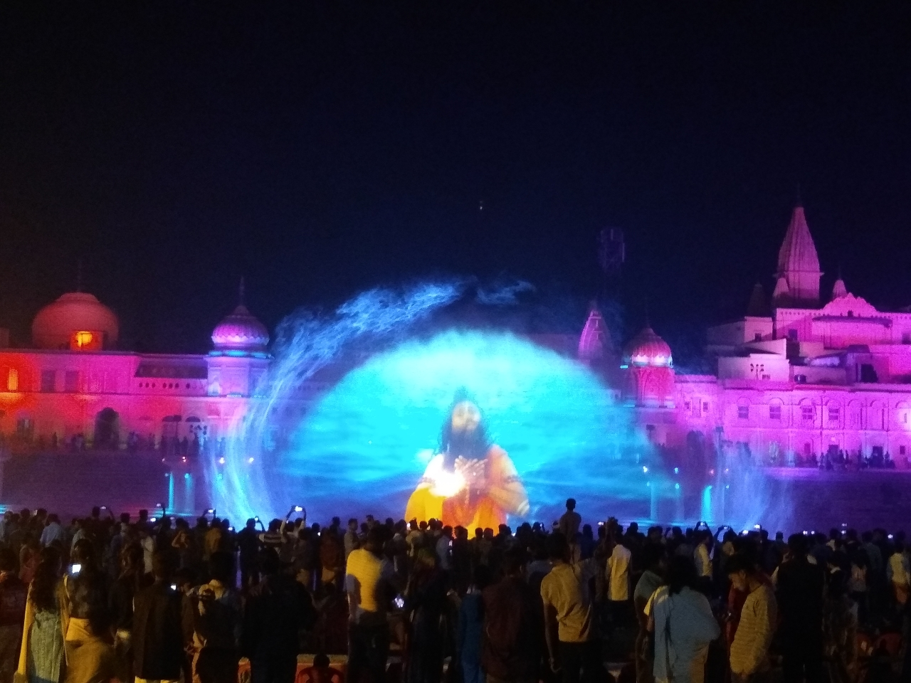 The laser and light show on water fountain. One of the scenes from digital Ramayan. Hundreds of people are expected to watch this 45-minute show today.