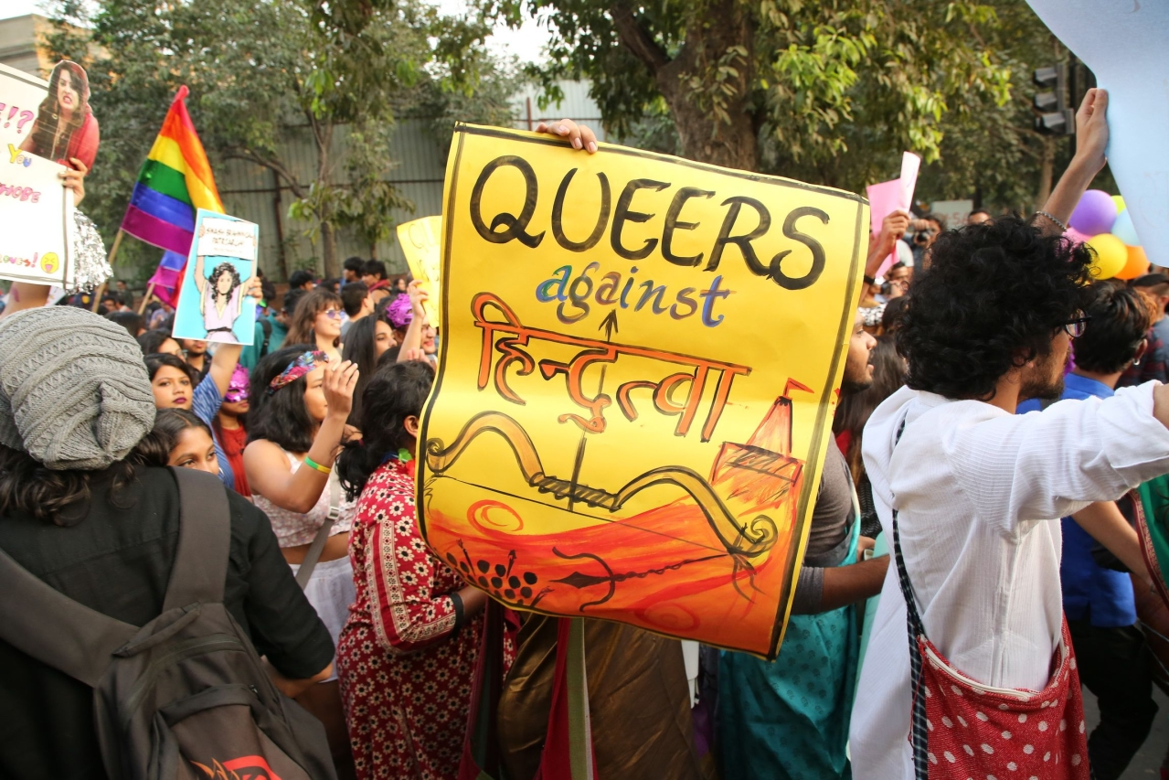Members and supporters of the LGBT community take part in Delhi's Queer Pride Parade from Barakhamba Road to Parliament Street in New Delhi, India. (Raajessh Kashyap/Hindustan Times via GettyImages)