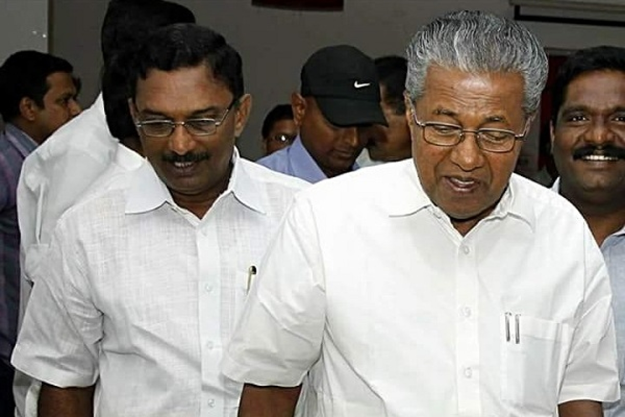 Kerala Chief Minster Pinarayi Vijayan (R) along with Travancore Devaswom Chairman, Ex-CPM MLA A Padmakumar (L) (Pic: Facebook)
