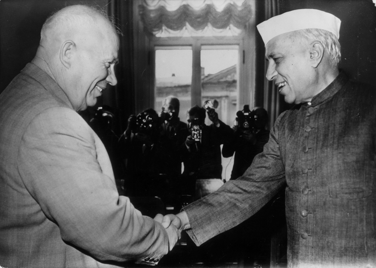Jawaharlal Nehru  shakes hands with then Soviet premier Nikita Khrushchev in Moscow. Keystone/GettyImages)