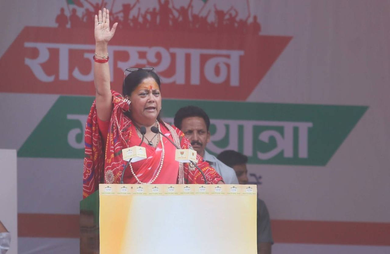 Rajasthan Chief Minister Vasundhara Raje addresses supporters at a rally in Rajsamand, India. (Himanshu Vyas/Hindustan Times via Getty Images)