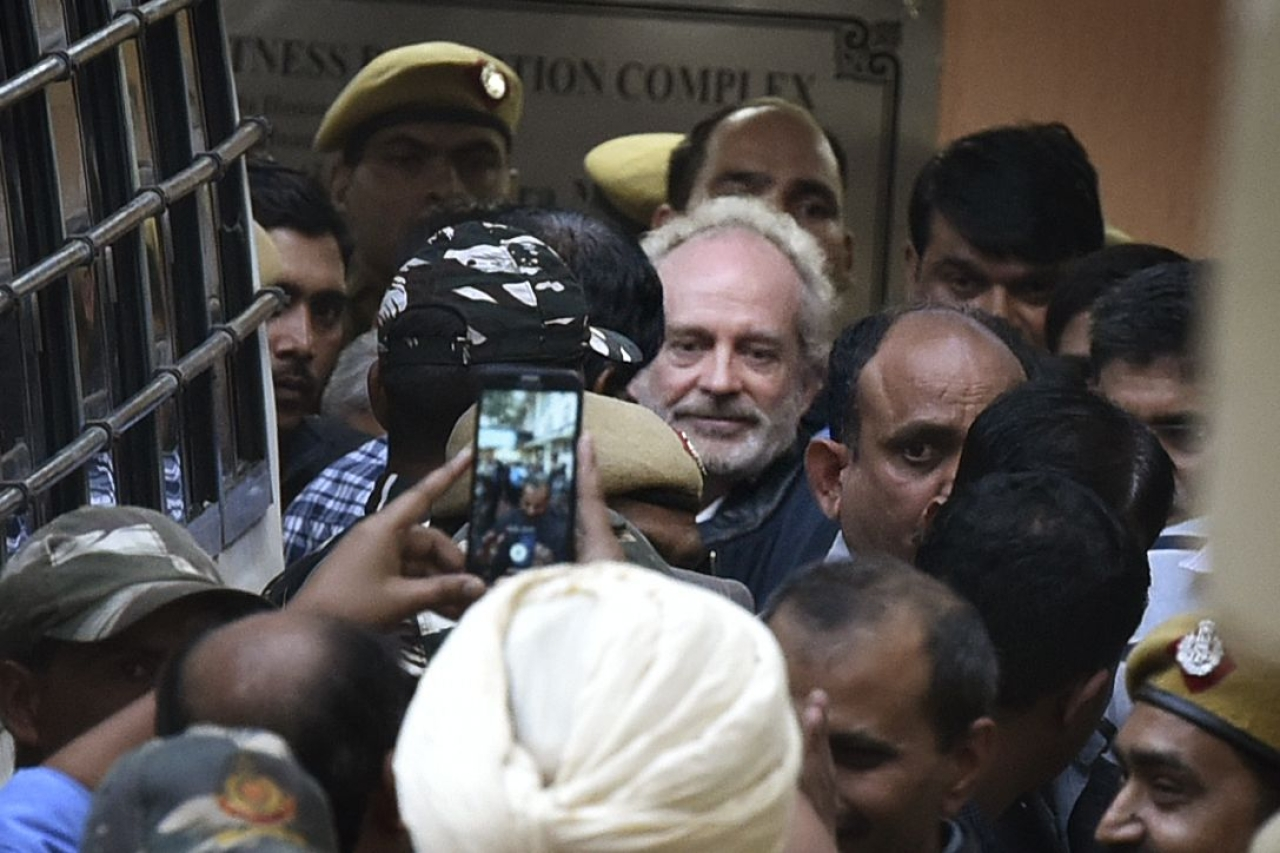 James Christian Michel, the alleged middleman in the multi-crore AgustaWestland chopper deal, leaves after he was produced at a CBI court in Patiala House Court on December 5, 2018 in New Delhi (Raj K Raj/Hindustan Times via Getty Images)