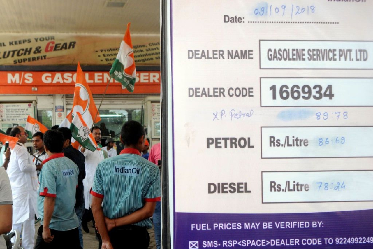 Youth Congress members forcefully close a petrol pump during  Bharat Bandh protest (Parwaz Khan/Hindustan Times via Getty Images)