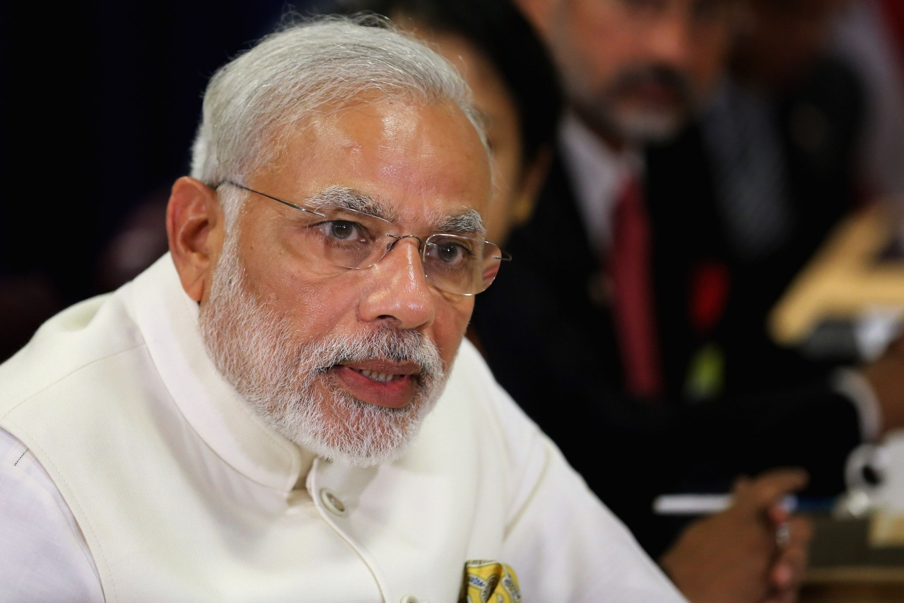 Prime Minister Narendra Modi speaks at an event. (Chip Somodevilla/Getty Images)