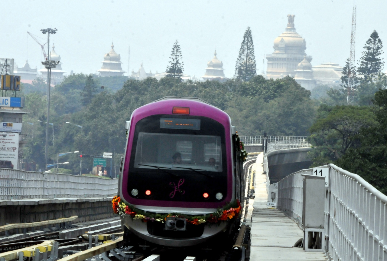 Namma Metro from Mahatma Gandhi Road to Byappanahalli in Bengaluru on October 20, 2011.  (Photo by Jagdeesh MV/Hindustan Times via Getty Images)