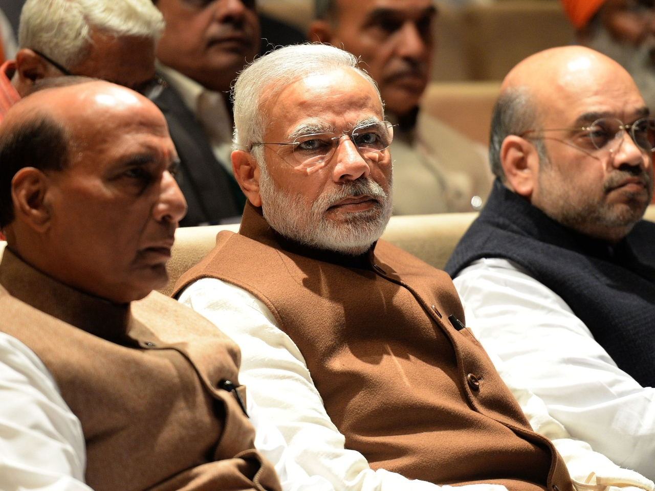 Prime Minister Narendra Modi (centre) at an event in New Delhi. (PRAKASH SINGH/AFP/Getty Images)