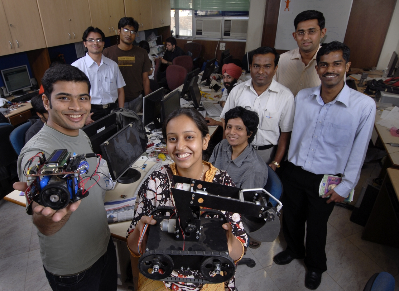 Interns from startups FEAST Software, Vegayan Systems and TRI Technosolutions at IIT Mumbai. (Abhijit Bhatlekar/Mint via Getty Images)