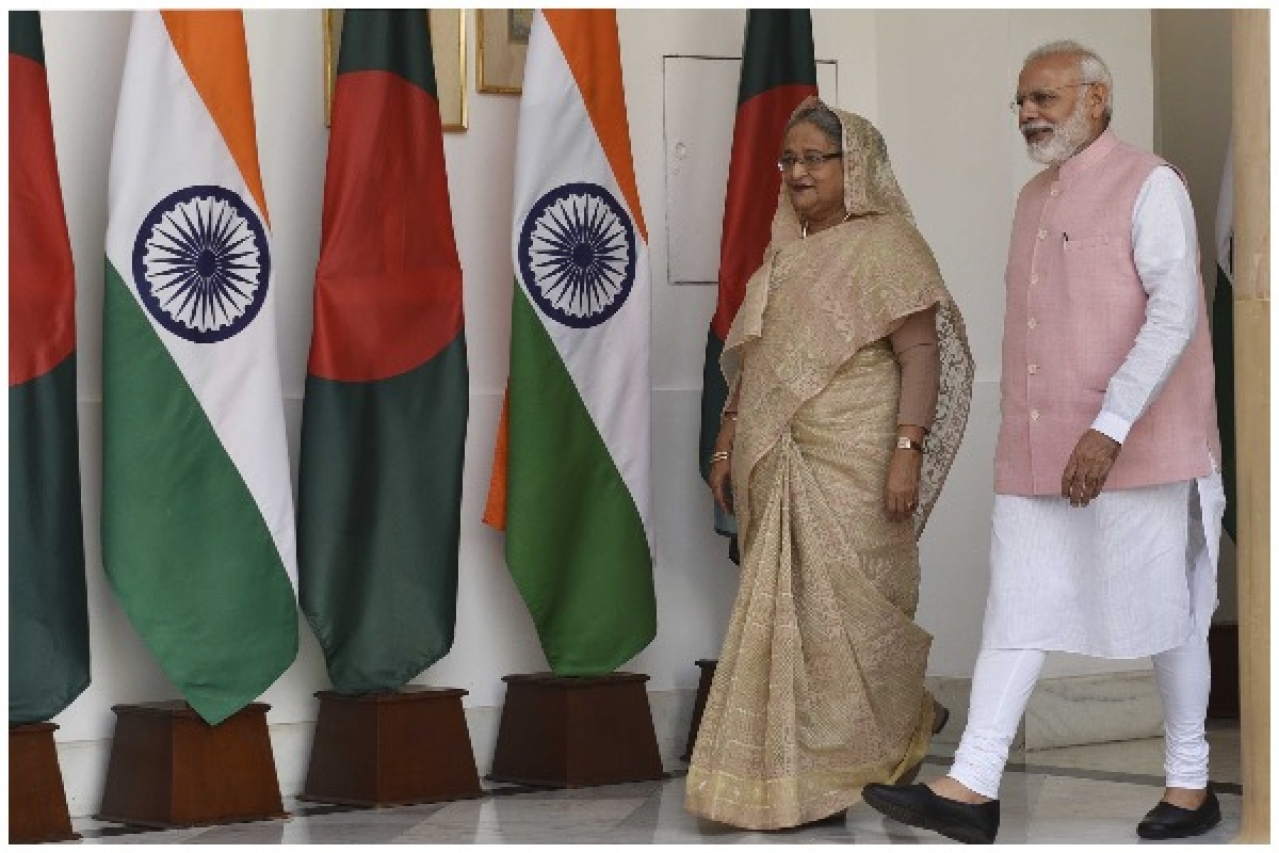 Prime Minister Narendra Modi with Bangladeshi Prime Minister Sheikh Hasina before their delegation level meeting at Hyderabad House, on April 8, 2017 in New Delhi, (Mohd Zakir/Hindustan Times via Getty Images)
