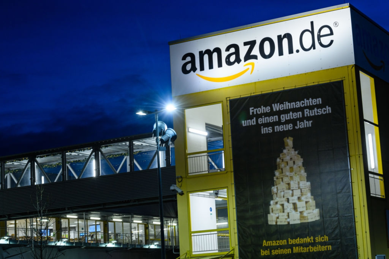 An Amazon warehouse in Leipzig, Germany.  (Jens Schlueter/Getty Images)