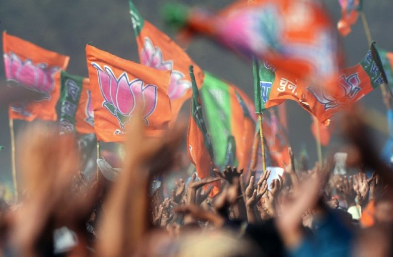 BJP flags at a rally.