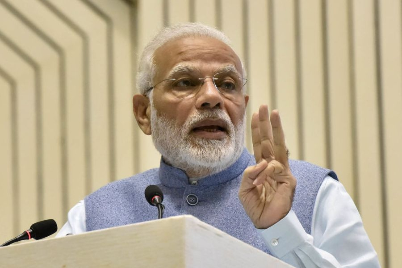 Prime Minister Narendra Modi addresses an event at Vigyan Bhawan in New Delhi. (Sonu Mehta/Hindustan Times)