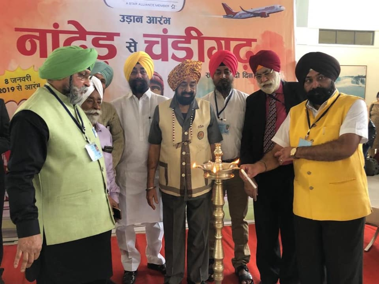 First Direct Flight From Chandigarh To Nanded Sees Sikh Pilgrims Doing 'Shadab Kirtan' And 'Ardaas'